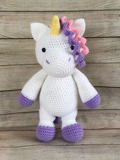 Crochet Unicorn, Little Unicorn, Little My, Embroidery Thread, Hello Kitty, Dinosaur Stuffed Animal, My Etsy Shop, Purple, Toys