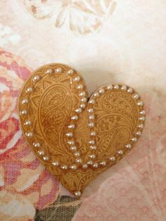 SALE Laser Cut Wood Altered Art Brooch  Pearl by thatvintagechic, $8.00