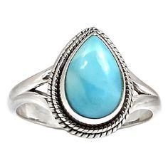 Larimar - Dominican Republic 925 Sterling Silver Ring Jewelry s.9 SR183684   eBay