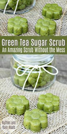 Make this easy matcha green tea sugar scrub recipe. It's in a solid form to help reduce the mess and make it easy for gift-giving! via Make This Amazing Matcha Green Tea Sugar Scrub Body Scrub Recipe, Sugar Scrub Recipe, Diy Body Scrub, Diy Scrub, Sugar Scrub Homemade, Homemade Soap Recipes, Homemade Facials, Zucker Schrubben Diy, Diy Savon