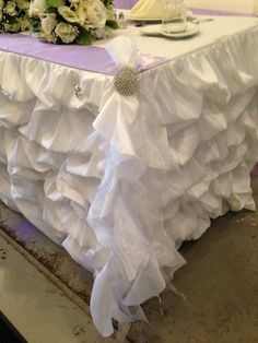 Genial Ruched Table Skirt With Tutu Tie And Buckle
