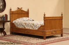 SOLD - Victorian Faux Bamboo Twin Bed, Cherry & Pine - Harp Gallery Antique Furniture