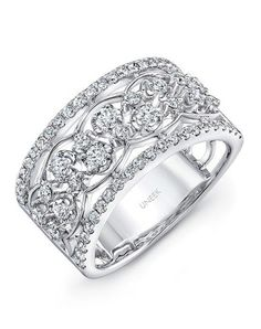 Delightful open lace diamond band in white gold, featuring 118 round brilliant cut white diamonds (combined weight of carats) nestled in multiple rows down the finely textured coralline-inspired mesh-like openwork filigree Gold Diamond Band, Unique Diamond Rings, Gold Band Ring, Band Rings, Solitaire Diamond, Wedding Rings Solitaire, Wedding Rings Vintage, Wedding Bands, Bridal Rings