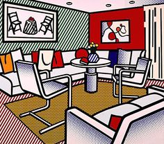 1991 - Interior with Red Wall | Roy Lichtenstein | Pop Art
