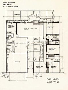 Eichler plan cc 294 claude oakland eichlers for Homes with atriums floor plans