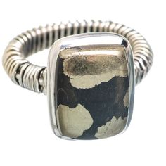 Pyrite In Magnetite (healer's Gold) 925 Sterling Silver Ring Size 9.5 RING763611