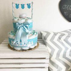 Torta di pannolini con panni stesi di IlLaboratorioDiSara su Etsy - diaper cake, torta di pannolini, baby boy, baby shower, nascita, battesimo, primo compleanno