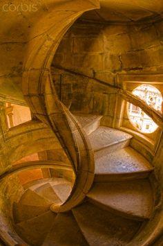 Spiral Stone Staircase in Convento de Cristo, Portugal
