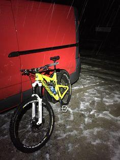Slushy night riding at Laggan, Scotland.