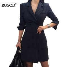RUGOD 2018 New Office Lady Long Sleeve Profession Women Dress Empire Straight Striped Double Button Turn-down Collar Mini Dress Office Dresses For Women, Trendy Dresses, Clothes For Women, Vestidos Plus Size, Mini Vestidos, Latest Fashion For Women, Womens Fashion, Lady, Tuxedo Dress