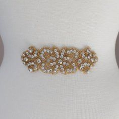 Bella Gold Emblem Rhinestone Applique