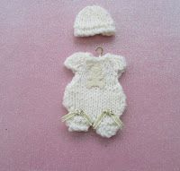Mini Romper and hat 4ply yarn 3.25 needles Knit 2 pieces Cast on 5 stitches Knit 3 rows Put on spare needle and make another piec...