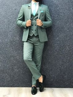 Collection: Spring – Summer 2019 Product: Slim-Fit Wool Suit Color Code: Green Size: Suit Material: wool, polyester Machine Washable: No Fitting: Slim-fit Package Include: Jacket, Vest, Pants Only Gifts: Shirt, Chain and Neck Tie Green Wedding Suit, Wedding Dress Men, Summer Wedding Suits, Green Suit Men, Black Suits, Mens Fashion Suits, Mens Suits, Men's Fashion, Fashion Outfits