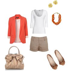 I can put this together with what i have. my Orange blazer and khakis in place of shorts for work