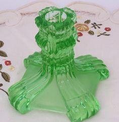 Vintage Green Depression Glass Candle Holder,Glass Candlesticks, Art Deco