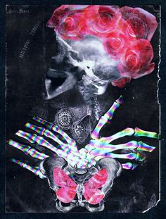 'Mademoiselle Xanthea Rae'  Analog collage art by Dystopian Paper Ballads.  #collage #collageart #analogcollage #paperart #handmade #surrealism #xray #skull #anatomy