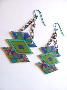 geometric shrink plastic necklace triple by LinesNShapesJewelry, $22.00