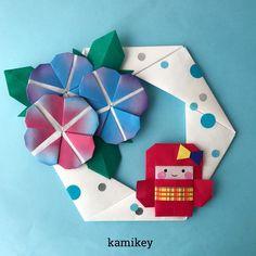 """きものガール!浴衣だけどね^ ^ 「きものガール」「あさがお」「六角リース」「2色ちょうちょリボン」の作り方動画は、YouTubeの""""kamikey origami""""でご覧ください(プロフィールにリンクがあります) Kimono Girl designed by me Tutorial on YouTube """"kamikey origami """" #origami #折り紙 #kamikey"""