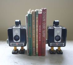 Vintage camera bookends Recycled Electronic Waste