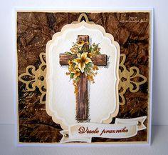 handmade Easter card ... lovely image of Easter cross on Spellbinders labels and die cuts ...
