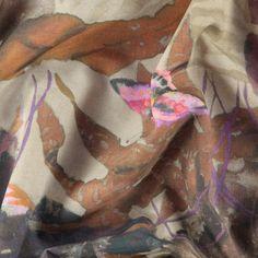 Vævet lilla farver blomster/fugle print