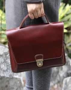 22ba14a7a5 Handmade leather men Briefcase messenger vintage shoulder laptop bag  vintage bag