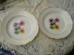 2 Gien Porcelain Plates- Poppy Flowers - French Porcelain Gilded  - Signed GIEN Bretagne de Vercor - Vintage 60's - Pastoral Scene