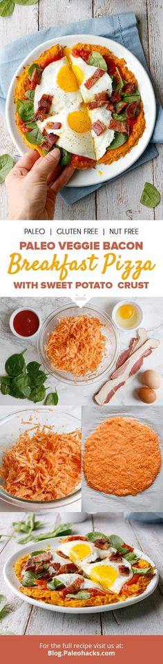 Enjoy pizza for breakfast with this egg, spinach and bacon pie served on a sweet potato crust! Get the full recipe here: http://paleo.co/vegbaconpizza