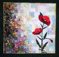 Poppy watercolor quilt