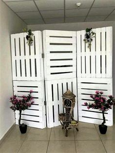 If you have small space and you do not want to increase the number of walls then do it with uniqueness and style. You can use pallet wood curtains and separators to achieve your desired look or requirement. These white painted pallet wood separators can be placed any where at your home.