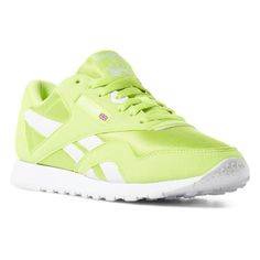 b71167ce0eee Reebok Shoes Unisex Classic Nylon Color in Neon Lime White Size M 9   W  10.5 - Retro Running Shoes