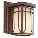 Kichler Lighting Outdoor Wall Lantern, Aged Bronze with White Linen Mist Glass