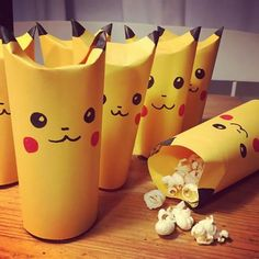 Popcorn Pikachu -just made from a rolled up tube of yellow paper. Not sure how y… Popcorn Pikachu -just made from a rolled up tube of yellow paper. Not sure how you'd seal up the bottom (glue a larger circle inside?) but the res Pokemon Themed Party, Pokemon Birthday Cake, 6th Birthday Parties, 9th Birthday, Festa Pokemon Go, Pokemon Craft, Pokemon Snacks, Pokemon Tips, Pokemon Cupcakes