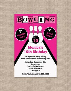 PRINTABLE Pink Bowling Party Invitations