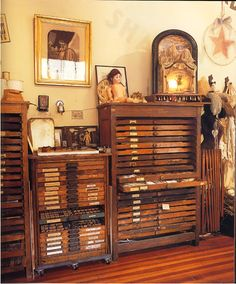Antique map cabinets /printer's trays...
