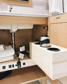 useful outlets for cabinet space Storage, Master Bathroom Design, Bathroom Trends, Bathroom Remodel Master, Bathroom Redo, Minimalist Small Bathrooms, Beautiful Bathrooms, House Interior Decor, Bath Organization