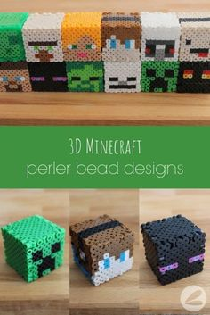 Minecraft Perler Bead Designs These Minecraft perler bead patterns are super fun for the kids to create. It combines their love for Minecraft and crafting! Perler Bead Designs, Hama Beads Design, Perler Bead Templates, Pearler Bead Patterns, Perler Patterns, Minecraft Diy, Minecraft Beads, Minecraft Pattern, Minecraft Bedroom