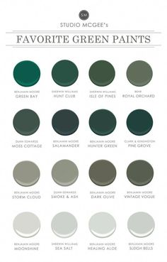 Ask Studio McGee: Our Favorite Green Paints Shop Benjamin Moore Green Bay Hunt Club SW 6468 Green Paint Color Sherwin-Williams Isle of Pines SW 6461 Green Paint Color Sherwin-Williams Royal Orchard Green Paint Colors, Bedroom Paint Colors, Gray Color, Color Paints, Bathroom Colors, Wall Colours, Bathroom Ideas, Behr Pintura, Green Bay