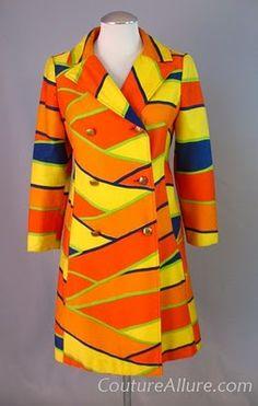 60s Mod Op Art Cotton Pique Coat