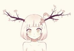 Anime Girl with Antlers (or cherry blossom branches :P) | Cute Anime Art | Pink