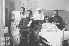 "Grand Duchess Olga Nikolaevna Romanova of Russia as a Sister of Mercy with wounded soldiers. ""AL"""