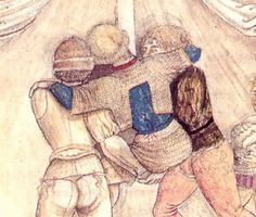 1450 - 1455 By Pisanello, wounded knight, armour is already stripped, he wears mail skirt and shortened hauberk over a tightly fitting arming garment.