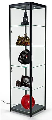 This modern LED display tower is perfect for showcasing high end merchandise. Find a number of locking cases at corner display Display Case w/ LED Lighting, 4 Fixed Shelves & Locking Door - Black Retail Display Cases, Wall Display Case, Glass Shelf Brackets, Glass Shelves, Glass Curio Cabinets, Kitchen Cabinets, Glass Showcase, Swinging Doors, Jewelry Cabinet