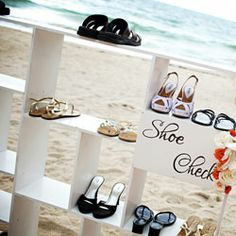 Love the idea of a shoe check-in for a beach wedding: guests can grab flip-flops afterwards. via @TheWeddingChannel