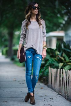 Sun & Shadow SeamedLong Sleeve Tee| BLANKNY Distressed Denim Skinny Jeans | Vince Camuto 'Hillsy' Ankle Bootie | Gigi New York All-In-One Bag c/o |