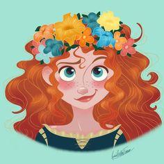 Rocio's Belen Ferreiro Art Princess-Beauty-Case Disney Merida Disney Pixar, Disney Fan Art, Disney Animation, Disney E Dreamworks, Disney Characters, Merida Disney, Brave Merida, Disney Bound, Disney Dream