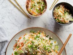 How to make a Rice Bermicelli Bowl with Lime Peanut Dressing for an easy, healthy lunch