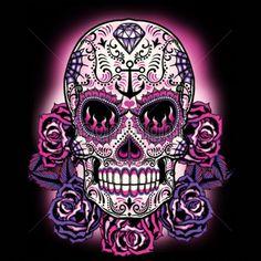 Pink Sugar Skull Womans Short Sleeve T Shirt Day of the Dead Sugar Skull 17934 Caveira Mexicana Tattoo, Tattoo Crane, Los Muertos Tattoo, Sugar Skull Artwork, Candy Skulls, Sugar Skulls, Sugar Skull Girl, Sugar Skull Design, Day Of The Dead Art