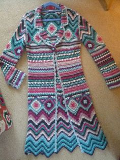 Crocheted Long Coat made by Monsoon in acrylic yarn (too bad). Inspiration