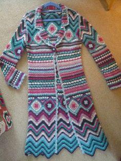 Crocheted Long Coat made by Monsoon in acrylic yarn (too bad). Inspiration
